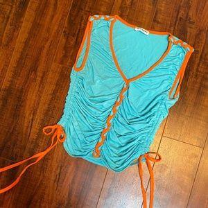 SHARAGANO Turquoise  Burnt Orange Braided Tank Top